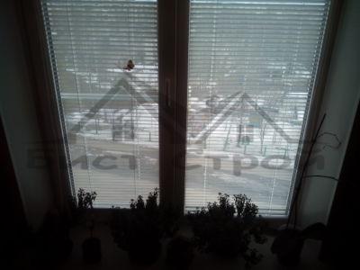 Вид из окна с горизонтальными жалюзи